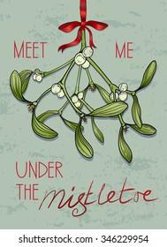 Christmas greeting card with mistletoe. Vector illustration