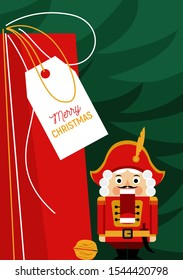 Christmas greeting card with nutcracker and gift