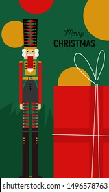 Christmas greeting card with nutcracker and gifts