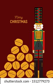 Christmas greeting card with nutcracker and nuts