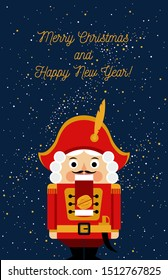 Christmas greeting card with nutcracker on the night sky background