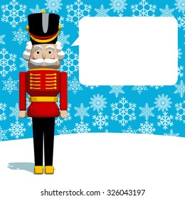 Christmas greeting card. The Nutcracker soldier as Santa's helper on snowy background. Vector format.
