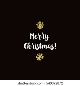 Christmas greeting card on black background with golden elements and text Merry Christmas