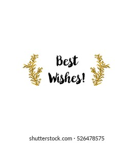 Christmas greeting card on white background with golden elements and text Best wishes