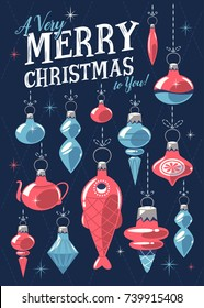 Christmas greeting card with Christmas ornaments. Mid century style. Vector illustration.