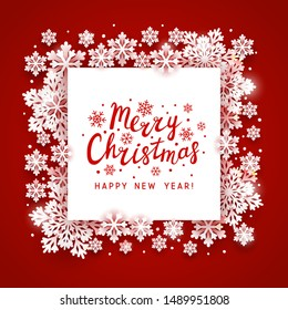 Christmas greeting card with paper snowflakes  frame on red background for Your holiday design