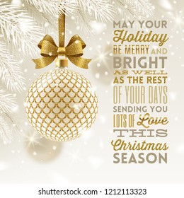 Christmas greeting card - patterned golden bauble with glitter gold bow hanging on a christmas tree and type design greeting. Vector illustration.