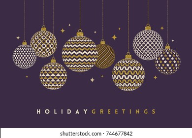 Christmas greeting card - patterned golden baubles on a dark violet background. Vector illustration.
