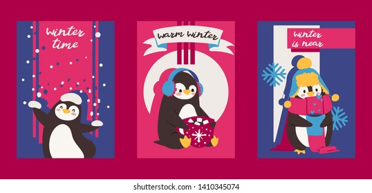 Christmas greeting card with pinguin. Enjoy winter time. Warm winter. Winter is near. Cartoon characters with hat, scarf and cup of hot chocolate with marshmallows congratulations, invitations.
