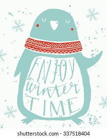 Christmas Greeting Card with pinguin. Enjoy winter time. Template for Greeting Scrapbooking, Congratulations, Invitations.