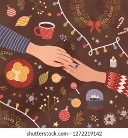 Christmas greeting card or postcard template with holding hands, cup of coffee, sweets, festive seasonal decorations lying on table. Holiday romantic date. Colorful vector illustration in flat style.