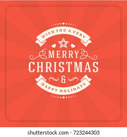 Christmas greeting card or poster design. Merry Christmas typography holidays wish logo emblem template. Gift box vector background.
