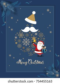 Christmas Greeting Card or Poster Design Template. (Blue background)