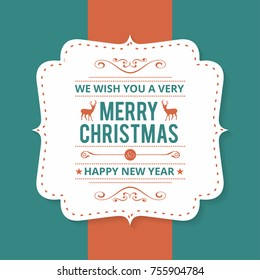 Christmas greeting card or poster design. Merry Christmas typography holidays wish logo emblem template.