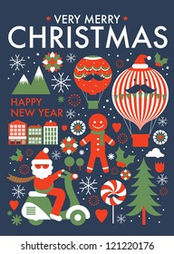 christmas greeting card/ poster template vector/illustration