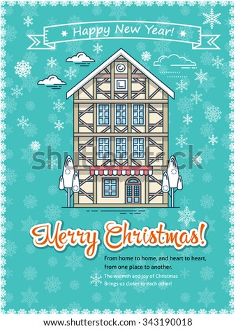 Christmas Greeting Card Poster Template Flat Stock Vector Royalty