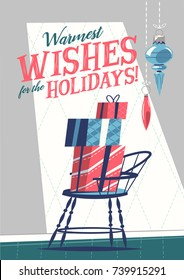 Christmas greeting card with presents. Mid century style. Vector illustration.