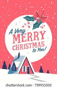 Christmas greeting card with red cabin. Mid century style. Vector illustration.