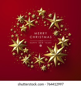 Christmas Greeting Card with Round Frame made of Gold Stars