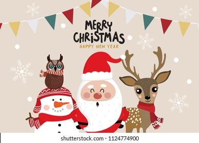 Christmas greeting card with Santa Claus, deer, owl and snowman character. Cute Holidays cartoon.