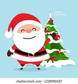 Christmas Greeting Card with Christmas Santa Claus and Christmas tree. Vector illustration.