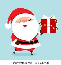 Christmas Greeting Card with Christmas Santa Claus, vector illustration.
