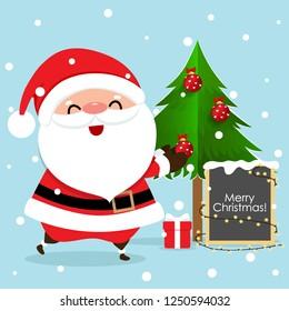 Christmas Greeting Card with Christmas Santa Claus and Christmas tree, vector illustration.
