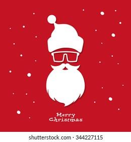 Christmas greeting card. Santa Claus. Hipster style. Vector illustration