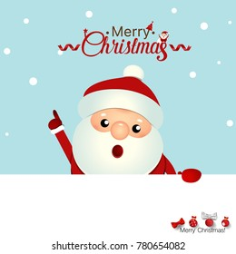 Christmas Greeting Card with Christmas Santa Claus and Merry Christmas lettering. Vector illustration.