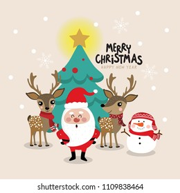 Christmas greeting card with Santa Clause, deer and snowman character. Holidays cartoon.