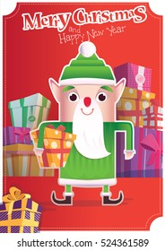 Christmas Greeting card with Santa helper. Poster layout for Christmas and New Year with Santa Claus. Mountain Gifts. Elf with gifts.