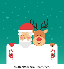 Christmas greeting card with Santa and Rudolph