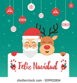 Christmas greeting card with Santa and Rudolph in Spanish