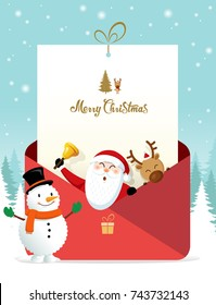 Christmas greeting card. Santa and Rudolph greeting in a red envelope