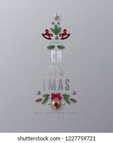 Christmas Greeting Card with Seasons Wishes decorated with Festive Christmas Elements. Flat Lay, Top View