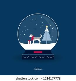 Christmas greeting card. Siberian husky in a snow globe.