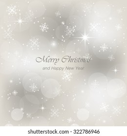 Christmas greeting card with snow, flakes and glow. Vector illustration for your design.