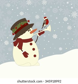 Christmas greeting card with snowman and bird and place for text