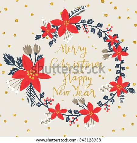 Christmas greeting card stylish poinsettia flower stock vector christmas greeting card with stylish poinsettia flower wreath merry christmas and happy new year lettering m4hsunfo