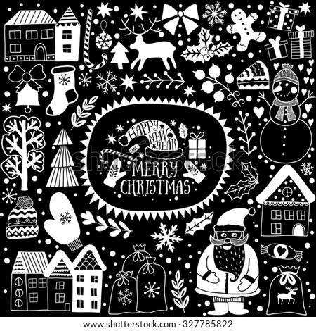 Christmas Greeting Card Template Black White Stock Vector Royalty