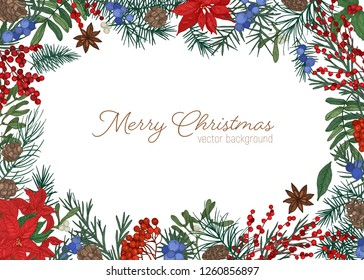 Christmas greeting card template decorated by branches and cones of coniferous tree, holly, mistletoe and juniper berries and leaves hand drawn on white background. Winter holiday vector illustration.