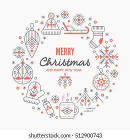 Christmas greeting card template with outlined signs forming a ring. Black and red color palette. Minimalistic design layout. Creative tribal line style background