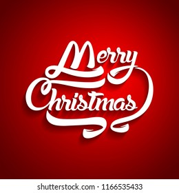 Christmas greeting card text. Merry Christmas lettering, vector illustration.