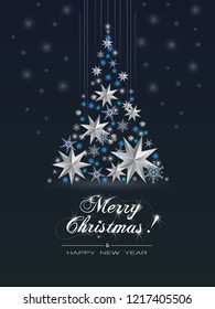 Christmas Greeting Card  With  Christmas Tree made of cutout paper stars and snowflakes. Vector illustration of abstract Christmas tree on blue background and inscription Merry Christmas.