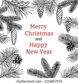 Christmas greeting card with a Christmas tree and a pine cone. Vector hand drawn illustration. New year's banner.