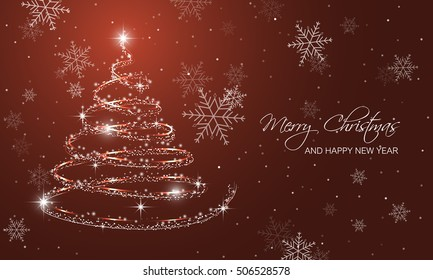 Christmas greeting card with christmas tree, snowflakes and shining star. Vector illustration.