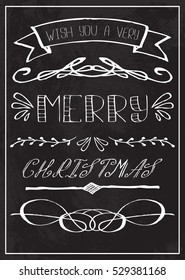 Christmas greeting card with typography text on chalkboard.