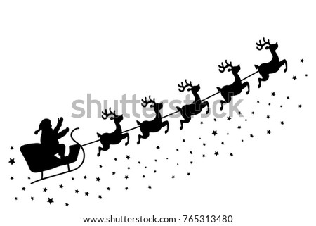 Christmas greeting card vector black silhouette stock vector christmas greeting card vector black silhouette of a reindeer team on a white background m4hsunfo