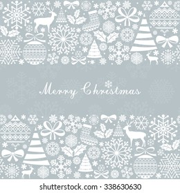 Christmas Greeting Card. Vintage Christmas elements.