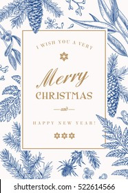 Christmas greeting card in vintage style. Vector frame with ferns, berries, mistletoe, pine cones and spruce branches, seeds of eucalyptus. Blue.